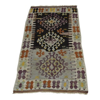 Turkish Muted Handwoven Anatolian Antique Vintage Kilim Rug - 4.4' x 2.3'