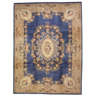 1930s Antique Chinese Art Deco Hand Made Rug- 9′ × 11′7″