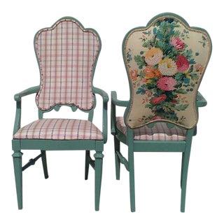 Custom Plaid & Floral Back Green Armchairs - a Pair
