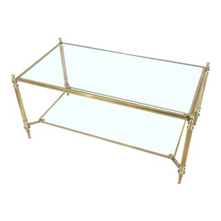 Neoclassical Brass and Glass Coffee Table by Maison Jansen