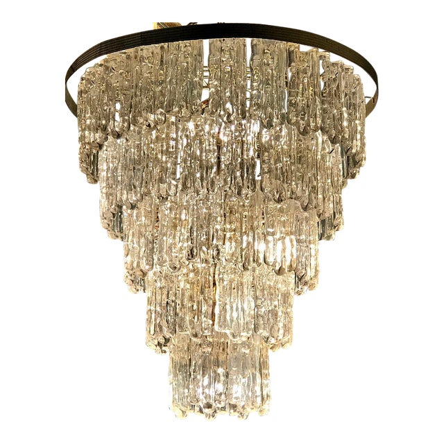 Mid Century Modern Tiered Lucite Ice Block Chandelier | Chairish