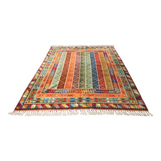 """Bellwether Rugs Contemporary Turkish Oushak """"Technicolor"""" Area Rug- 6′3″ × 8′7″"""