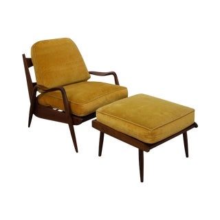 Phillip Lloyd Powell New Hope Walnut Lounge Chair & Ottoman
