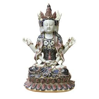 Chinese Tong Style Blue Red White Porcelain Kwan Yin Tara Bodhisattva Statue