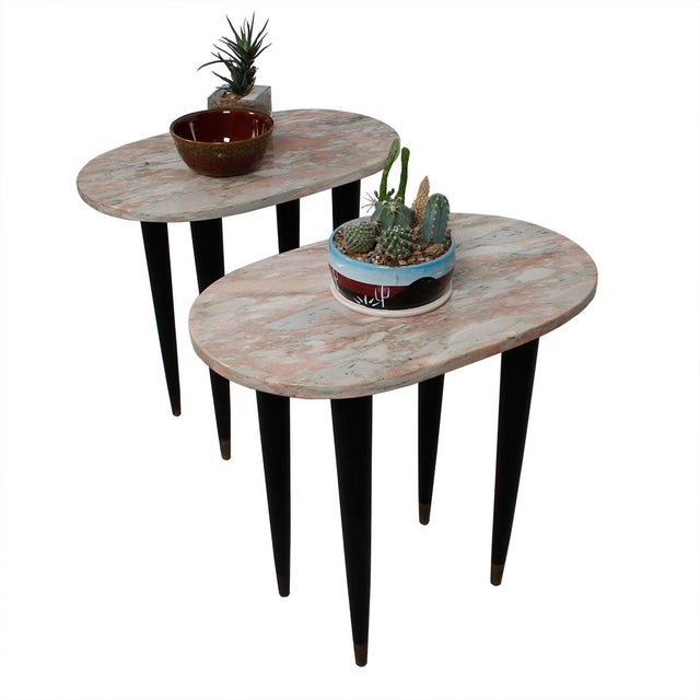 Pink Marble Top Accent Tables - Pair - Image 7 of 7