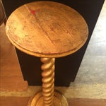 Image of Swirled Gold Leaf Wood Pedestal