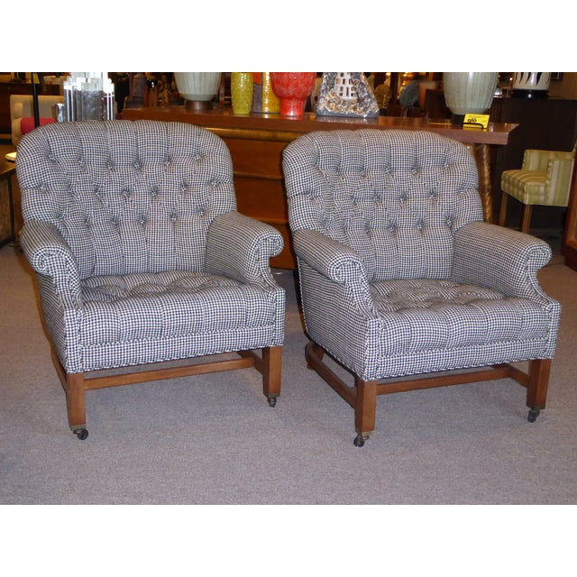 Beefy Edwardian Style Button Tufted Club Chairs in Houndstooth - Image 2 of 11