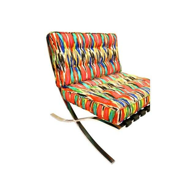 Ikat Barcelona Style Chrome Chairs - A Pair - Image 7 of 7