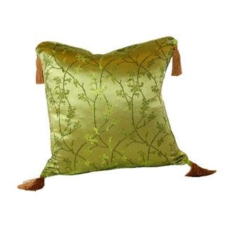 Green Vine Silk Brocade 16x16 Pillow