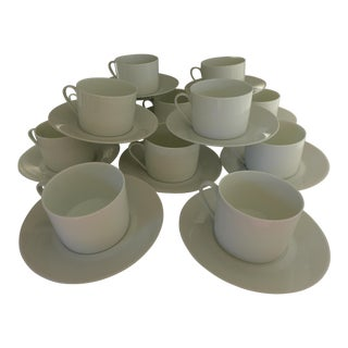 """White Fine China Cup and Saucer """"Porcelaine De Limoges"""" - Set of 12"""