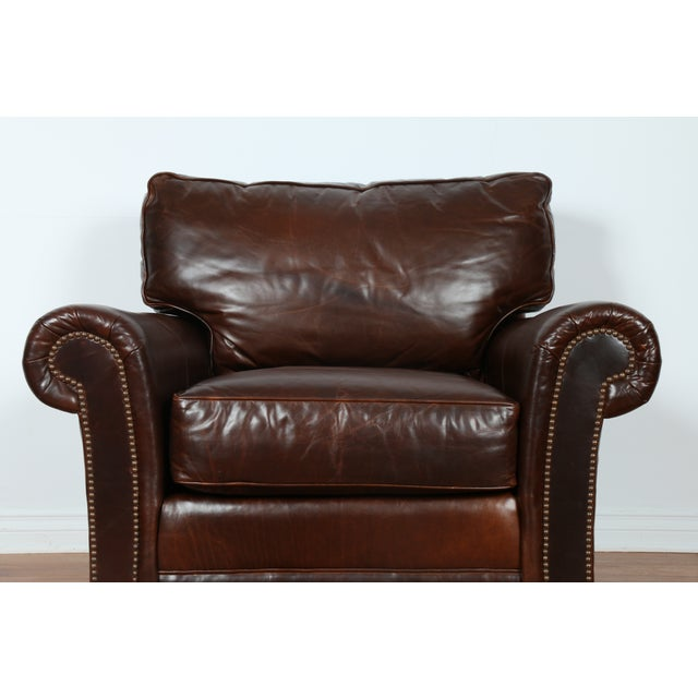 Brown Leather Chair With Ottoman - Image 5 of 11