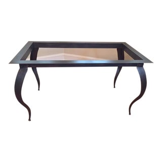 Custom Antique Copper-Leaf and Glass Dining Table