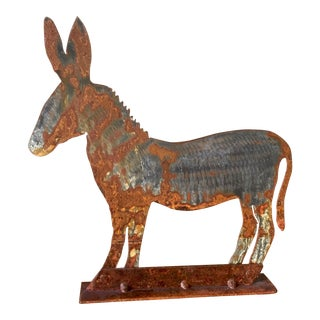 Repurposed Metal Donkey Cut-Out on Vintage Base
