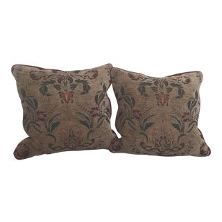 Burgundy Tapestry Goose Filled Pillows - A Pair