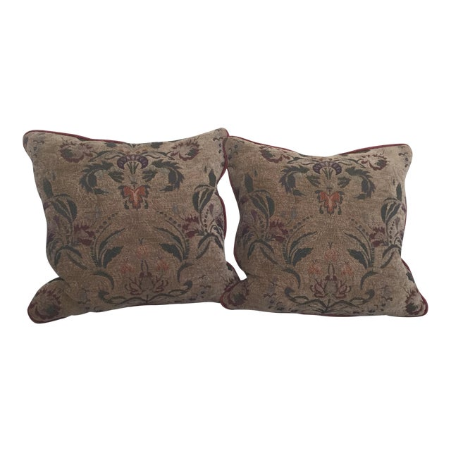 Burgundy Tapestry Goose Filled Pillows - A Pair - Image 1 of 4