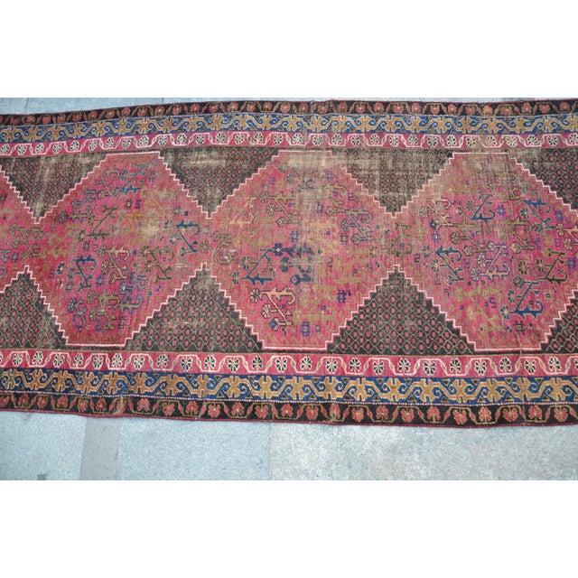 "Persian Antique Handmade Runner Rug -- 3'3"" x 10'5"" - Image 4 of 6"