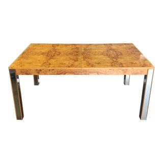 Milo Baughman Parsons Style Burlwood Dining Table