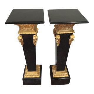 Ormolu-Mounted Black Marble Pedestals - Pair