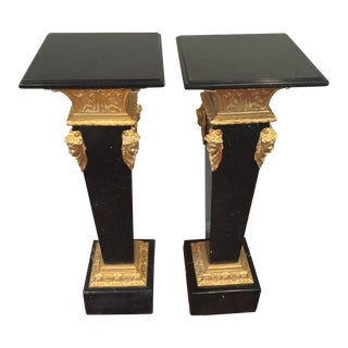 Ormolu-Mounted Black Marble Pedestals - Pair