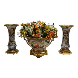 Antique Imari Centerpiece and Companion Vases circa 1875-1885