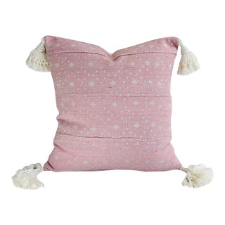"""17"""" Custom Tailored Pale Pink & Cream Tasseled Feather/Down Pillow"""