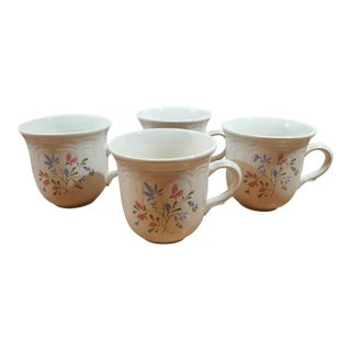 Stoneware Spring Meadow Coffee Mugs - Set of 4