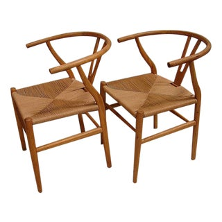 Hansen-Style Danish Rush Chairs - A Pair