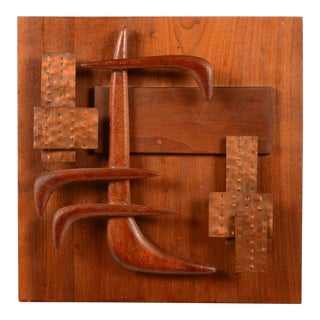 Mid-Century Modern Mahogany Wood & Copper Abstract Wall Sculpture