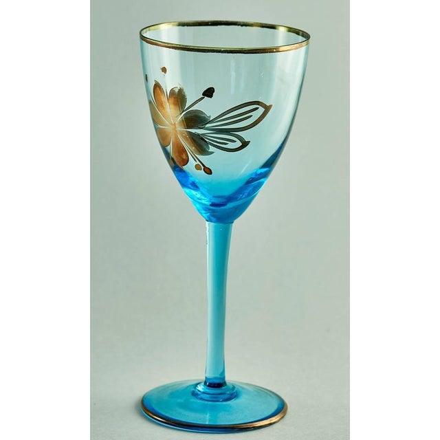 Image of Sea Blue & Gold Leaf Decanter & Glassware Set