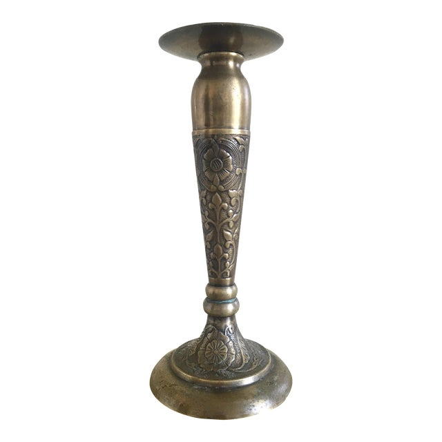 Tall Solid Brass Floral Candle Stick - Image 1 of 9