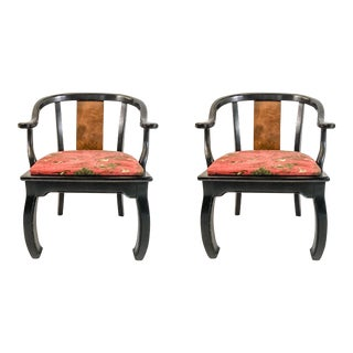 Bernhardt Ming Style Burl Chairs - A Pair