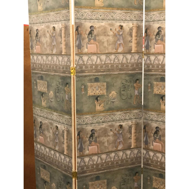 Maitland-Smith Postmodern Egyptian Revival Silk Screens - a Pair - Image 5 of 6
