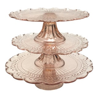 Pink Depression Glass Pedestal Cake Plates - Set of 3