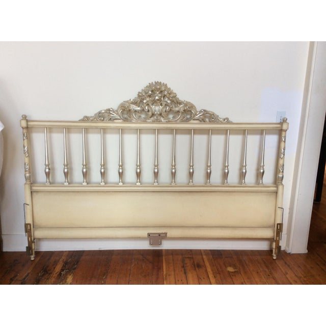 Silvered Accented Carving King Size Headboard - Image 4 of 10