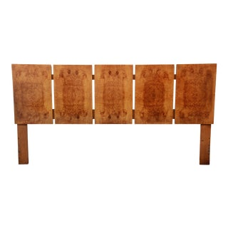 Milo Baughman for Lane Burled Olive Wood King Size Headboard