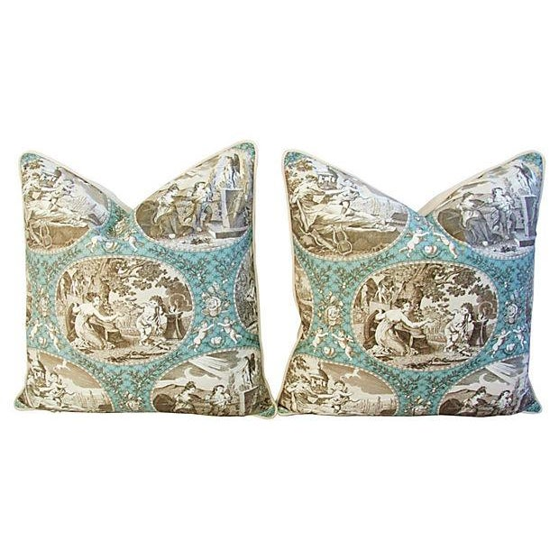 Image of Designer Scalamandre Cupido Toile Pillows - A Pair