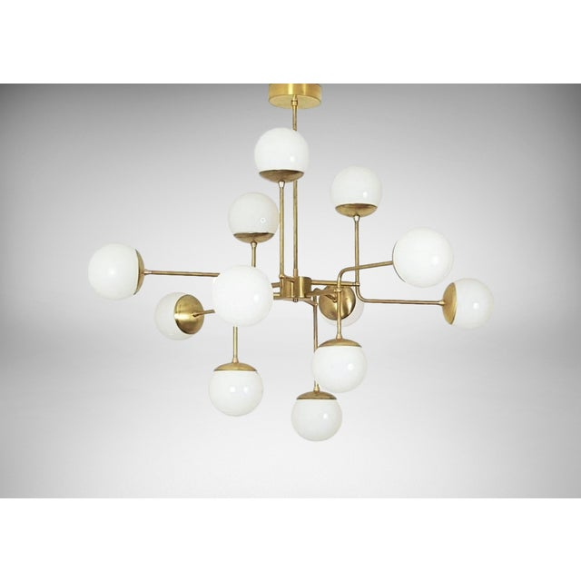 Classic Italian Modern Brass Chandelier With Glass Globes, Model 420 - Image 2 of 7