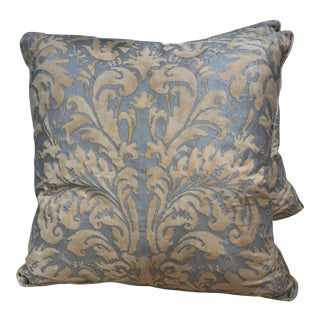 Orange On Beige Fortuny Pillows - A Pair