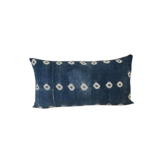 Vintage African Textile Indigo Lumbar Pillow - Image 1 of 5