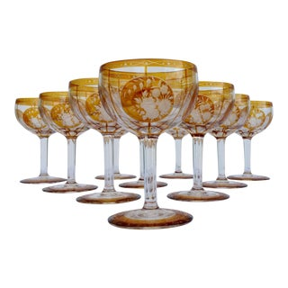 C.1950s Czechoslovakian Crystal Etched Amber Wine Goblets - Set of 10