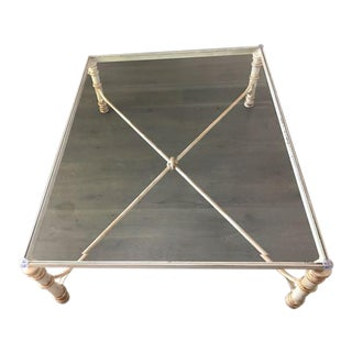 Glass Top Antiqued Iron & Glass Coffee Table