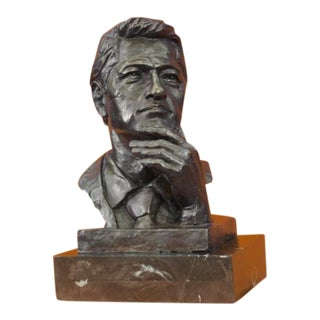 President Clinton Oval Office Bronze Sculpture on Marble Base Figurine