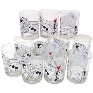 Mime Bar Glasses Barware W/Pierrot Clown - Set/12