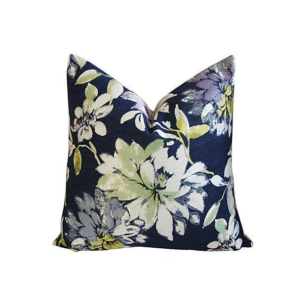 Custom French Floral Silk & Linen Pillows - A Pair - Image 5 of 7