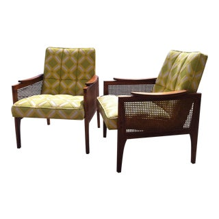 Mid-Century Walnut Cane Arm Chairs - Pair