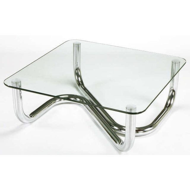 Sinuous Chrome and Glass Coffee Table - Image 3 of 7
