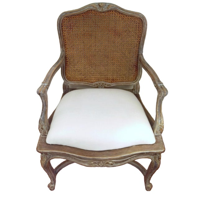 Image of Louis XVI-Style Carved Cane Back Chair