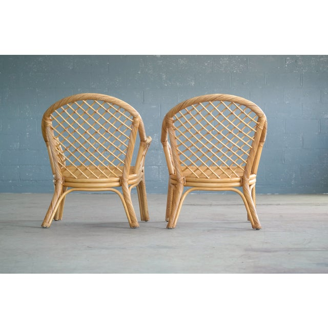 Mid Century Modern Danish Rattan Armchairs - a Pair - Image 3 of 11