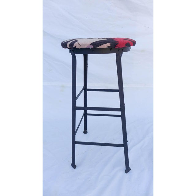 Industrial Iron Base And Kilim Covered Bar Stool Chairish