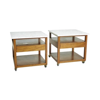 Harvey Probber Marble Top Nightstands - Pair